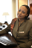 Club Rotana receptionist, Mai Hammoud, pictured at the Rotana Hotel in Khartoum, Sudan, on Wednesday, Apr. 5, 2007. The hotel opened in February 2007 and was the first proper 5-star hotel in Khartoum..Khartoum is modeling itself as the Dubai of Africa and despite Western sanctions the city is booming. Away from the troubles and poverty that plaque the rest of Sudan, development in Khartoum is moving at an astonishing rate. Investment from the East, and in particular China, allowed the Sudanese economy to grow by 11% in 2007. This growth is driven largely by oil, with production rising from 63,000 barrels per day in 1999 to over 500,000 barrels today.