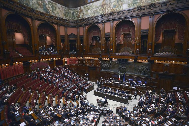 Roma, 10 Marzo 2015<br /> La Camera dei Deputati vota si alle Riforme della Costituzione.<br /> Panoramica con gli scranni vuoti del Movimento 5 Stelle