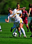 19 September 2010: University of Vermont Catamount defender Heidi Hassler, a Senior from Westford, VT, in action against the Colgate University Raiders at Centennial Field in Burlington, Vermont. The Raiders scored a pair of second half goals two minutes apart to notch a 2-0 victory over the Lady Cats in non-conference women's soccer play. Mandatory Credit: Ed Wolfstein Photo
