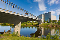 Centennial bridge crosses the Chena river in downtown Fairbanks, Rabbinowitz courthouse, interior, Alaska