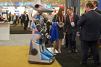 00091686 New York, New York.  1/16/2012 NATIONAL RETAIL FEDERATION TRADE SHOW.  The Wipro robot at the annual National Retail Federation trade show at the Jacob Javits Convention Center in New York    FRANCES ROBERTS/FREELANCE PHOTOGRAPHER