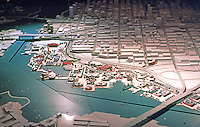 Vancouver: EXPO '86--Model of EXPO Grounds from Cambie St. Bridge (bottom) to Western edge at Granville St. Bridge.