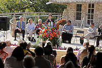 San Antonio Mayor Emeritus and president of the San Antonio Parks Foundation Lila Cockrell speaks during the grand re-opening of the Jingu House, Saturday, Oct. 22, 2011, at the Japanese Tea Garden in San Antonio, Texas, USA. (Darren Abate/pressphotointl.com)