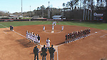 17 February 2017: The players, coaches, and umpires stand during the playing of the national anthem before the game. The Notre Dame Fighting Irish played the University of Minnesota Golden Gophers at Dail Softball Stadium in Raleigh, North Carolina as part of the ACC/Big 10 College Softball Challenge. Minnesota won the game 4-1