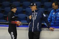SCHAATSEN: HEERENVEEN; 11-10-2014, IJstadion Thialf, KNSB Trainingswedstrijd, Arjan Stroetinga, Jillert Anema, ©foto Martin de Jong