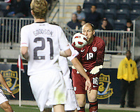 Brad Guzan #18 of the USA MNT collects the ball during an international friendly match against Colombia at PPL Park, on October 12 2010 in Chester, PA. The game ended in a 0-0 tie.