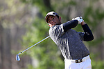 KANNAPOLIS, NC - APRIL 09: South Carolina's Ryan Stachler tees off on the 11th hole. The third round of the Irish Creek Intercollegiate Men's Golf Tournament was held on April 9, 2017, at the The Club at Irish Creek in Kannapolis, NC.