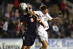 13 November 2009: Virginia's Greg Monaco (6) and Wake Forest's Andy Lubahn (17). The University of Virginia Cavaliers defeated the Wake Forest University Demon Deacons 4-3 on penalty kicks after the game ended in a 0-0 tie after overtime at WakeMed Stadium in Cary, North Carolina in an Atlantic Coast Conference Men's Soccer Tournament Semifinal game.