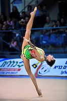 Samira Mustafayeva of Azerbaijan performs balance with ball at 2011 Holon Grand Prix, Israel on March 4, 2011.  (Photo by Tom Theobald).