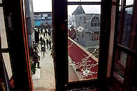 Bullet mark on a window pane at the place of a gun battle between the Indian Army and pro Pakistani militants of Hizbul Mujhadin, Outskirts of Srinagar, Kashmir valley, India