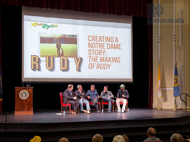 May 31, 2013; 2013 Reunion discussion on the making of the movie &quot;Rudy.&quot;<br /> <br /> Photo by Matt Cashore/University of Notre Dame