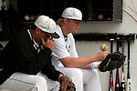 Vale's Shadd Samio and Brady Sharp in the dugout before the start of the 3A Oregon State Baseball Championships first round game against Rogue River on May 25, 2011 at Cammann Field, Vale, Oregon.