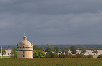 Vineyard. The tower. Chateau Latour, Pauillac, Medoc, Bordeaux, France
