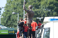 Fans at the stadium, their camera's at the ready, where even the statue's waved, as the Wales squad arrive by an open top bus during the homecoming celebrations at the Cardiff City stadium on Friday 8th July 2016 for the Euro 2016 Wales International football squad.<br /> <br /> <br /> Jeff Thomas Photography -  www.jaypics.photoshelter.com - <br /> e-mail swansea1001@hotmail.co.uk -<br /> Mob: 07837 386244 -