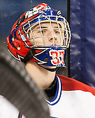 Connor Hellebuyck (UML - 37) - The University of Massachusetts Lowell River Hawks defeated the visiting American International College Yellow Jackets 6-1 on Tuesday, December 3, 2013, at Tsongas Arena in Lowell, Massachusetts.