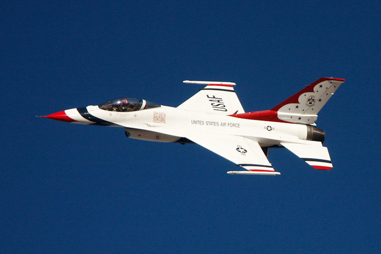 A thunderbird and its pilot are captured during Aviation Nation at Nellis Air Force Base in Las Vegas, NV.