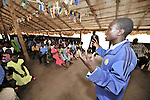 Pastor Isaac Sebit preaches during Sunday morning worship at the United Methodist Church in Yei, a town in Central Equatoria State in Southern Sudan.