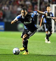 San Jose forward Arturo Alvarez (10) drives toward the Chicago goal during the second half of a match between the San Jose Earthquakes and the Chicago Fire at Toyota Park in Bridgeview, IL on April 10, 2010.  San Jose Earthquakes 2, Chicago Fire 1.