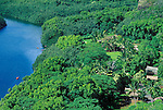 Authentic Hawaiian village and kayaks along the Wailua River, Island of Kauai, Hawaii