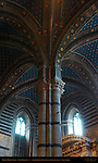 Architectural detail, Gothic Ribbed Vault, Left Transept, Cathedral of Siena, Santa Maria Assunta, Siena, Italy
