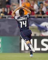 New England Revolution forward Diego Fagundez (14) celebrates his goal. In a Major League Soccer (MLS) match, Chivas USA defeated the New England Revolution, 3-2, at Gillette Stadium on August 6, 2011.