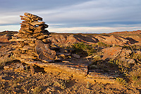 Native American cairn in the Sheep Mountain Badlands
