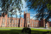 Belfast, Northern Ireland, United Kingdom, May 2011. Lanyon Building, Queen's University of Belfast. Sir Charles Lanyon designed the main building of Queen's University of Belfast in 1849 which now bears his name. The building is famous for its long Gothic Revival facade and Great Hall. The Great Hall underwent an extensive £2.5m renovation in 2002, restoring it to Lanyon's original plans. For decades travellers stayed away from the sectarian violence, but since the end of'The Troubles' more and more people start discoving the beauty of Belfast and the Antrim Coast Causeway. Photo by Frits Meyst/Adventure4ever.com
