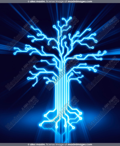 Digital tree made of glowing blue circuits, conceptual illustration on black background