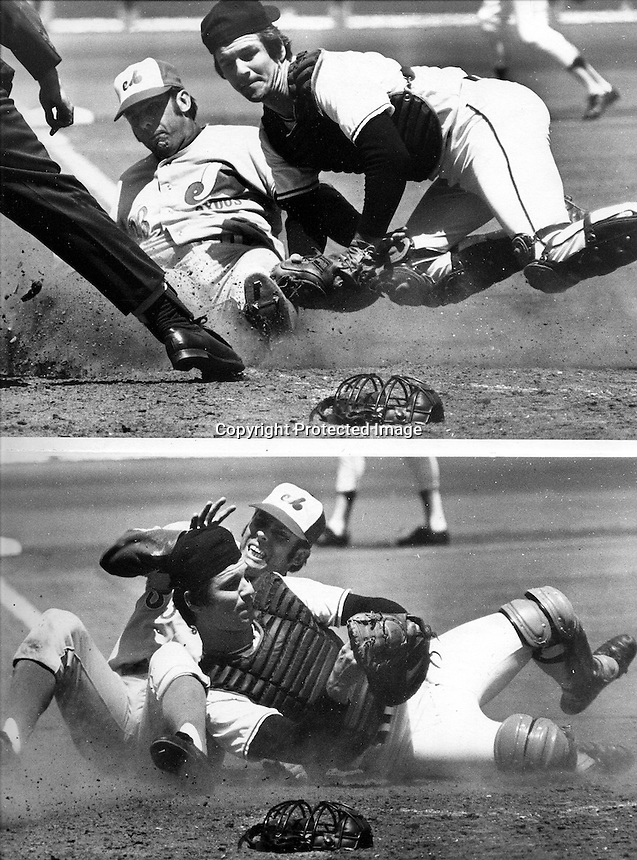 San Francisco Giants catcher Dave Rader tags out a hard sliding Montreal Expo's Ron Hunt.(1973 photo by Ron Riesterer)