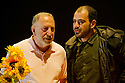 ", UK. 13/07/2011.  ""In the Penal Colony"" by Franz Kafka, opens at the Young Vic. Makram Khoury as The Visitor and Amer Hlehel as The Executioner. Photo credit should read Jane Hobson"