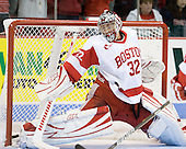 Adam Kraus (BU - 32) makes a save. - The Boston University Terriers defeated the visiting University of Toronto Varsity Blues 9-3 on Saturday, October 2, 2010, at Agganis Arena in Boston, MA.