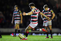Owen Williams of Leicester Tigers kicks for the posts. Aviva Premiership match, between Leicester Tigers and Saracens on January 1, 2017 at Welford Road in Leicester, England. Photo by: Patrick Khachfe / JMP