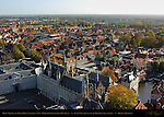 Town Hall Stadhuis, Burg Square and Rozenhoedkaai Rose Hat Quay, East View from atop the Belfort Bell Tower, Bruges, Brugge, Belgium