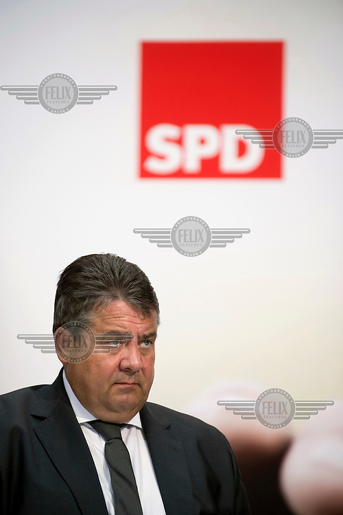 Sigmar Gabriel, Chairman of the Social Democratic Party (SPD), speaks during a conference, at their party headquarters, on equality as they launch their 2017 election campaign.