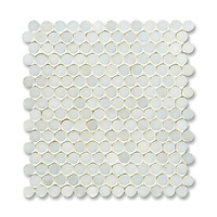 2 cm Pennyrounds shown in Paperwhite (available in polished finish) is part of New Ravenna's Studio Line. All mosaics in this collection are ready to ship within 48 hours.<br />