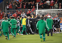 28 March 2012: A brawl erupted at the end of a CONCACAF Champions League game between the Club Santos Laguna and Toronto FC at BMO Field in Toronto..The game ended in a 1-1 draw...