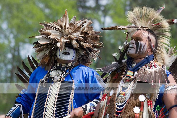 Charles Hankinson (Eagle Tail) (left), a Native American from the Micmac tribe of Canada, and Keith Anderson, his dancing brother (right), dance in full traditional regalia at the 8th Annual Redwing PowWow in Virginia Beach, Virginia.