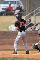 Austin Beck (23) of the North Davidson Knights at bat against the Alexander Central Cougars at Bob Gryder Stadium on March 25, 2017 in Taylorsville, North Carolina.  The Knights defeated the Cougars 3-0.  (Brian Westerholt/Four Seam Images)