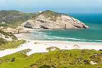 Wharariki Beach with white sand dunes near Collingwood, Nelson Region, South Island, New Zealand