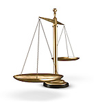 Biased empty golden justice scales Conceptual photo-realistic 3D illustration Isolated silhouette on white background