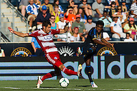 Sheanon Williams (25) of the Philadelphia Union takes a shot. The Philadelphia Union and FC Dallas played to a 2-2 tie during a Major League Soccer (MLS) match at PPL Park in Chester, PA, on June 29, 2013.