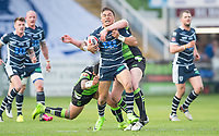 Picture by Allan McKenzie/SWpix.com - 11/05/2017 - Rugby League - Ladbrokes Challenge Cup - Featherstone Rovers v Halifax RLFC - The LD Nutrition Stadium, Featherstone, England  - Featherstone's Misi Taulapapa is tackled by Halifax's Mitch Cahalane.