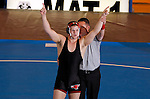 12 MAR 2011:  Aaron Denson of Nebraska-Omaha (in black) celebrates after defeating Charlie Pipher of Western State during the Division II Men's Wrestling Championship held at the UNK Health and Sports Center on the University of Nebraska - Kearney campus in Kearney, NE.  Denson defeated Pipher 6-4 to win the 184-lb national title. Corbey R. Dorsey/ NCAA Photos