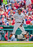 3 April 2017: Miami Marlins infielder Dee Gordon faces the Washington Nationals on Opening Day at Nationals Park in Washington, DC. The Nationals defeated the Marlins 4-2 to open the 2017 MLB Season. Mandatory Credit: Ed Wolfstein Photo *** RAW (NEF) Image File Available ***