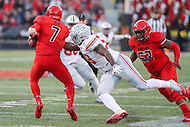College Park, MD - November 12, 2016: Ohio State Buckeyes defensive end Tyquan Lewis (59) sacks Maryland Terrapins quarterback Caleb Rowe (7) during game between Ohio St. and Maryland at  Capital One Field at Maryland Stadium in College Park, MD.  (Photo by Elliott Brown/Media Images International)