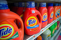 Containers of Tide detergent on grocery store shelves in New York on Wednesday, April 22, 2015. Procter & Gamble reported that sales fell for the fifth quarter in a row citing the strong dollar as well as reduced consumer demand. First quarter revenue fell from $19.4 billion to $18.14 billion. P&G is the world's largest maker of consumer products which ranging from Clairol to Crest toothpaste to Mr. Clean. (© Richard B. Levine)