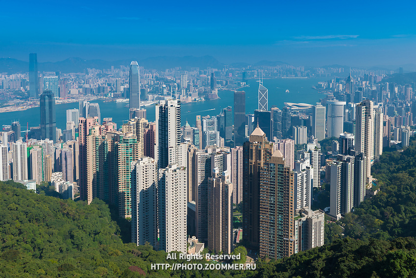 Panoramic photo of Hong Kong in a bright sunny day
