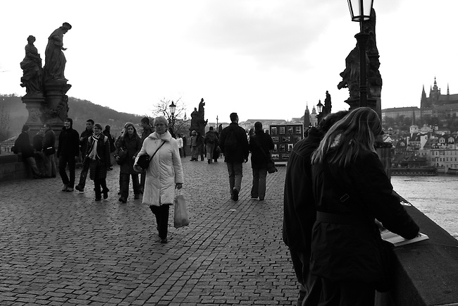 Late afternoon on the Charles Bridge in Prague, Czech Republic. March 27, 2008.