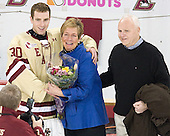 Chris Venti (BC - 30), Paula Venti, Ken Venti - The Boston College Eagles defeated the University of Vermont Catamounts 4-0 on Saturday, March 3, 2012, at Kelley Rink/Conte Forum in Chestnut Hill, Massachusetts. The two points from the win gave BC the Hockey East regular season championship.