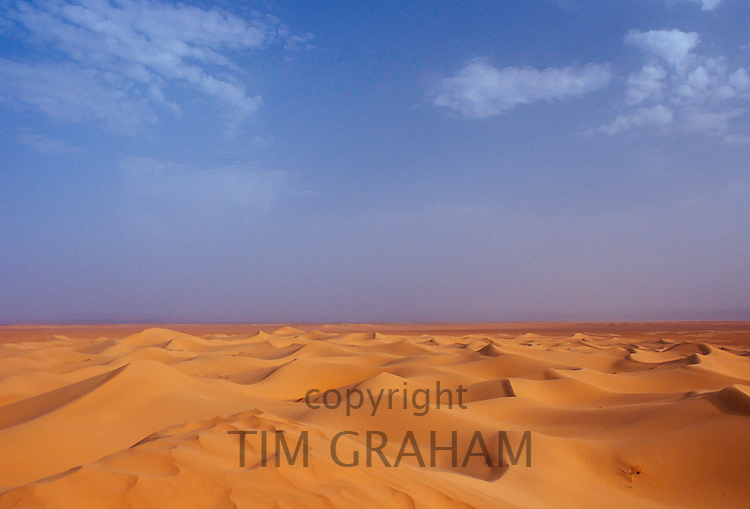 Blue skies and drifting sand dunes in the Sahara Desert, Morocco